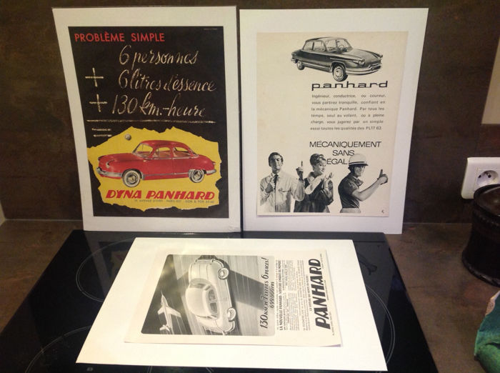 "Panhard - Lot of 3 advertising documents; originals of that period on the ""Dyna Panhard"" 1958"