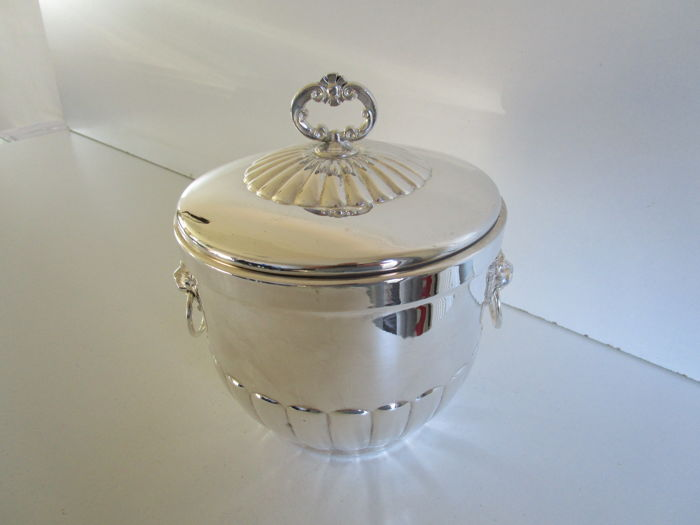 Silver Plated Ice Bucket with glass liner, Falstaff, England, ca 1960's
