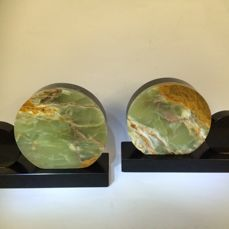 A set of Art Deco, Onyx bookends