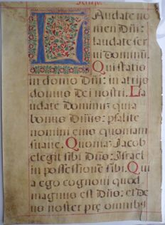 Manuscript; Original illuminated page from an antiphonary - 16th century
