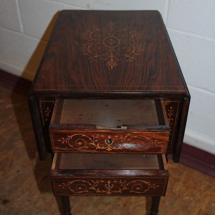 Small Antique Rosewood Drop Leaf Table With Decorative
