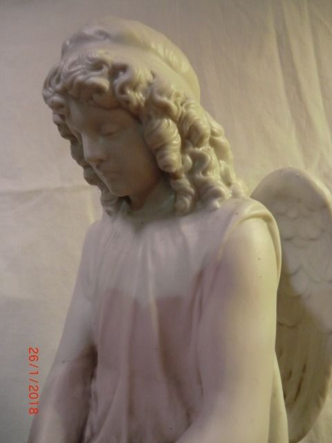 Praying Angel figure of biscuit, period 1890-1900, in very nice condition. Previously valued and rare.