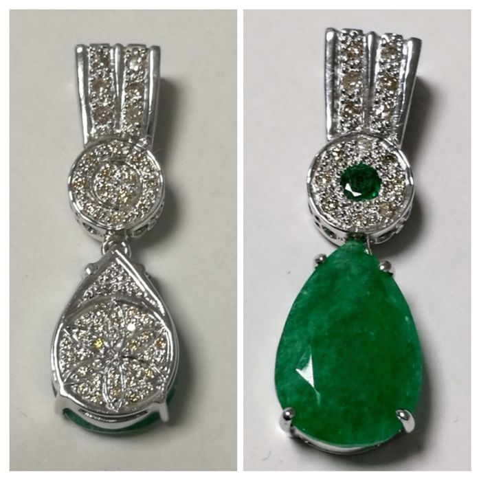 Pendant In 18 Kt Gold With Emerald 630 Ct And 1 Ct In Brilliants