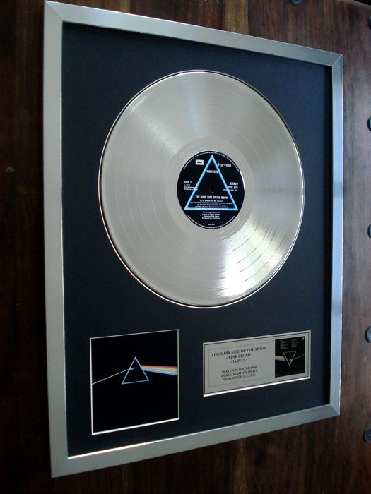 Pink Floyd The Dark Side of the Moon Platinum Plated Disc Record LP Album Award