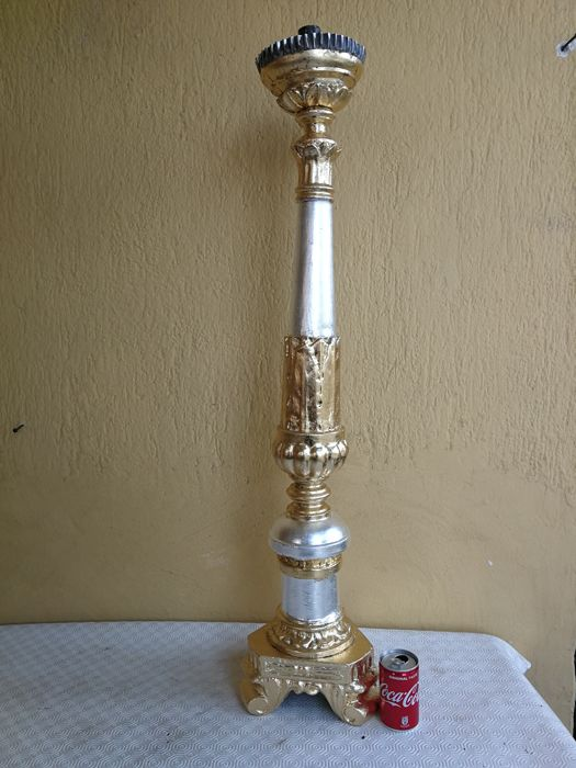 Big walnut candlestick in silver and gold foil - Italy - ca. 1900