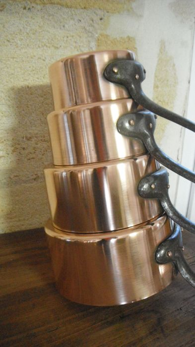 4 copper pans in tin plated copper