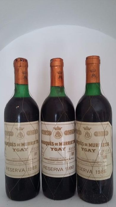 2 x Marques de Murrieta, Ygay, Reserva 1988, 1 x Marques de Murrieta, Ygay, Reserva, 1990- 3 bottles