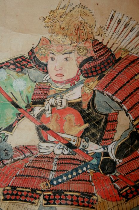 "Scroll painting ""Young samurai"" - Signed 'Kageteru' (?) 景輝謹 ' Japan - Mid 19th century"
