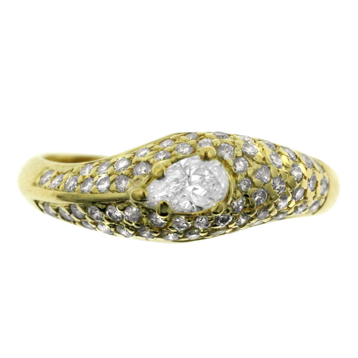 Pear-shape surrounded Pavé-set Ring, 18k Gold, as new.