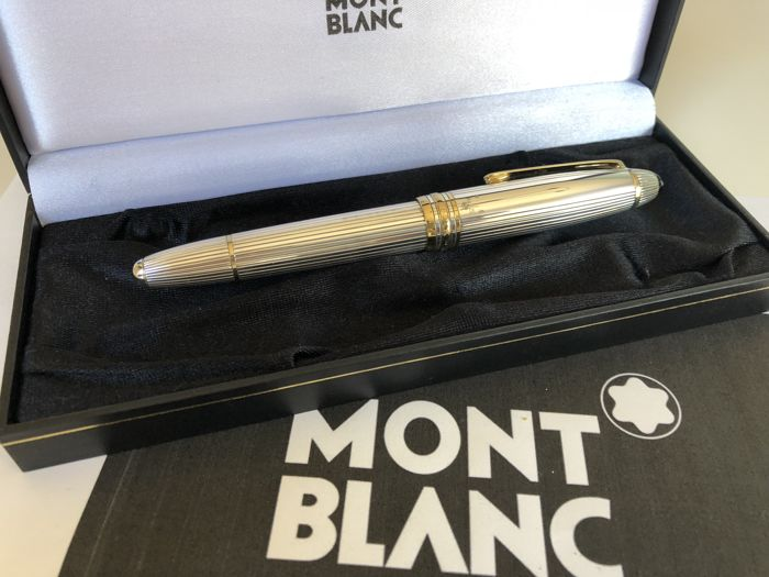 Montblanc Le Grand Solitaire 146 pen solid 925 Sterling silver 18K nib thread Guilloche retail price approx. 2.125 €