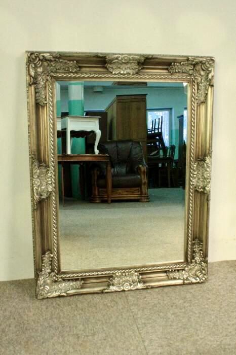 Antique Mirror - silver wooden frame - made by hand - 88 x 68 cm - Poland