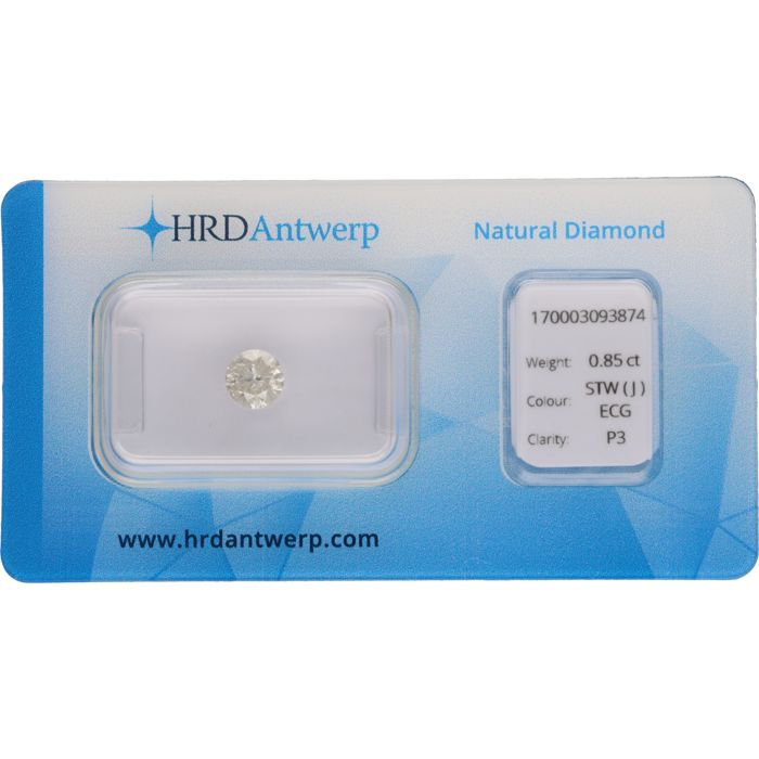 0.85 ct round, brilliant cut diamond, J P3