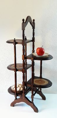 Foldable wooden cake-stand or whatnot with cognac-coloured leather inlay - 5 stands - England, mid 20th century