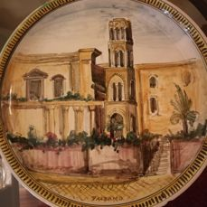 Ceramic Dish, hand-painted, image of Palermo, signed N. Caruso, Santo Stefano di Camastra, 1955