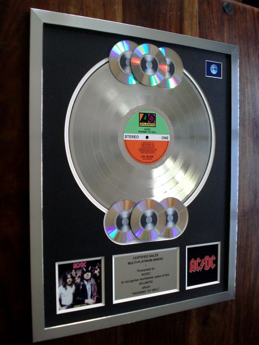 AC/DC Highway To Hell multi-platinum record disc LP award