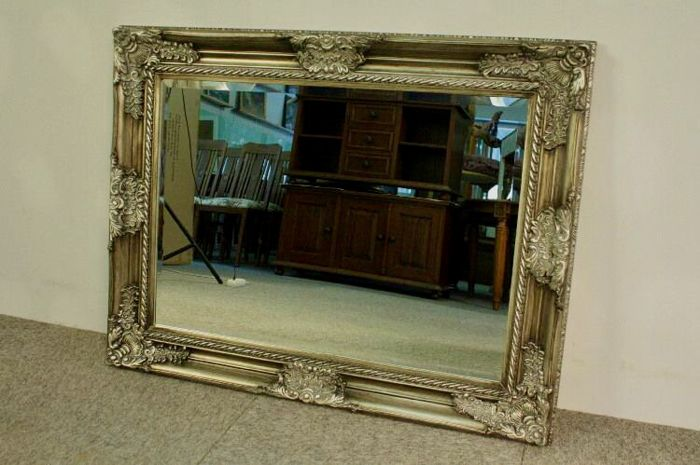 Beautiful crystal mirror in a solid, silver, wooden frame - hand-made