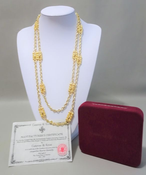 Camrose & Kross - Jackie Bouvier Kennedy - Coco Chanel  Gold Paperclip Necklace & Certificate