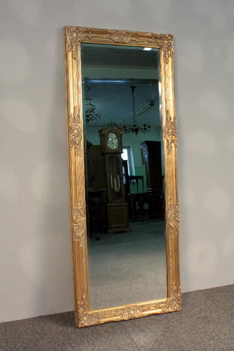 Very large mirror in a baroque, golden, wooden frame - 132 x 52 cm Poland