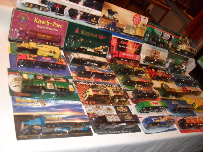 Collection, commercial trucks, brewery trucks, vintage, rarities, 1 blister package, collector's book, 75 pieces, original package.