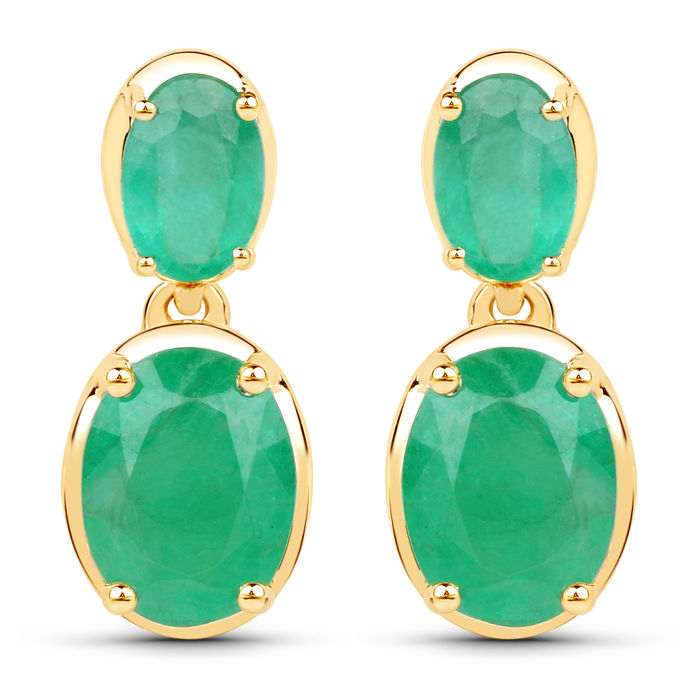 Earrings made of 14 kt gold with Zambian emerald 3.50 ct. Gold weight 3.370 g ****no reserve price****