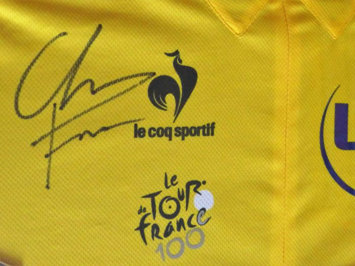 Chris Froome Hand Signed Framed Le Coq Sportif Centenary Yellow Cycling Jersey  Shirt Tour de France 2013 + Signed Race Issued Number N°1 4664320ef