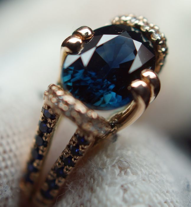 Gold Ring - 4.60 gr. with Natural  Sapphire - 2.43 сt. and Diamonds - 0.15 ct., Size: 54;