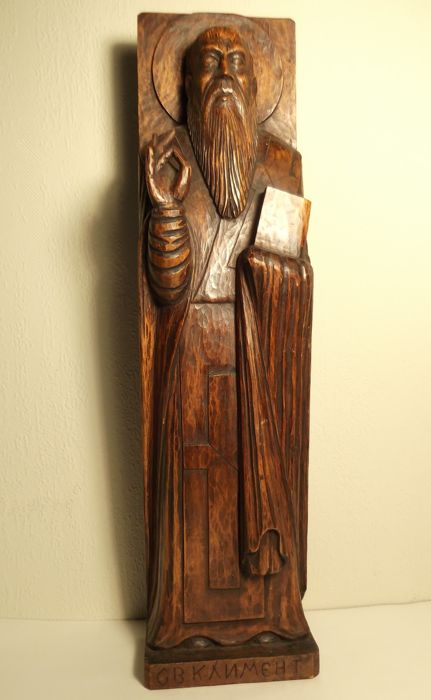 Large (51 cm) Orthodox oak wall image of Jesus-early 20th century