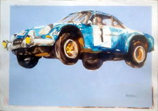 "Renault ALPINE A 110 - ""flying Alpine"" - Race Cars - Original Watercolour - 50 x 70 cm - By Gilberto Gaspar"