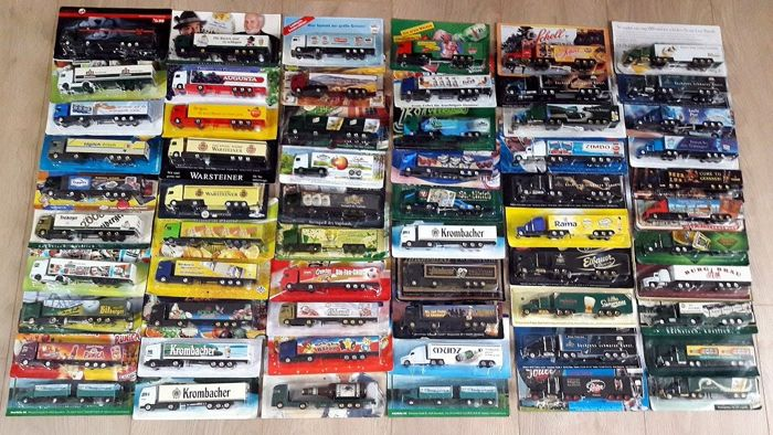 Great collection with 61 trucks / advertising trucks 1/87 from approx. 1987 to 2003 and in mint condition in original package