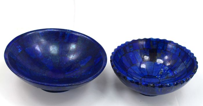 Hand-crafted, high quality Lapis Lazuli bowls - 128 to 158mm - 829gm (2)
