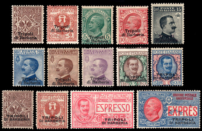 Italy 1909 - Tripoli di Barberia complete collection - Sassone NN. S27, 28, 29