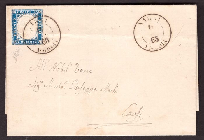 Italië koninkrijk 1863 - 15 c. light azure Sardinia type with triple effigy on cover from Narni to Cagli - Sassone N. 11ka