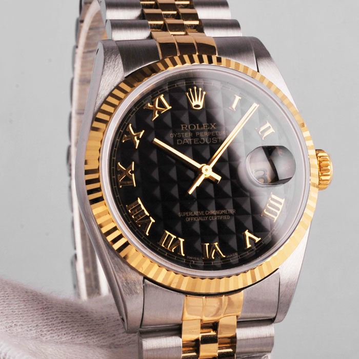 Rolex- Date Just- Rare pyramid Roman dial-16233- for Man
