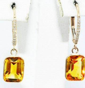 4.28 ct earrings with natural citrine and diamonds - no reserve price -