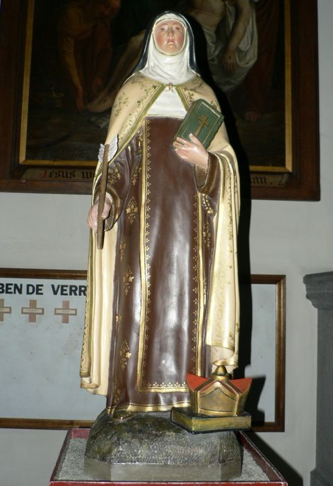 "Great Holy picture ""Theresa of Avila"", polychrome plaster and metal-Ghent (Belgium) - 18th or 19th century."