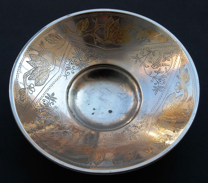 Antique Silver and Gold Plated Bowl, European, ca. 1950s