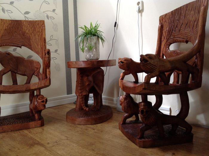 Elephants Chair Set   Wood Carving   Two Armchairs And A Table