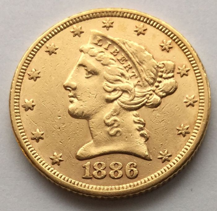 United States - 5 Dollars 1886 'Liberty Head' - gold