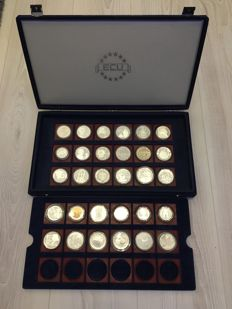 World - ECU silver coin collection Proof, 30 pieces in case with certificate of authenticity and deed of ownership - silver