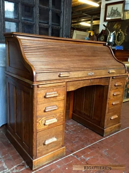Antique Desk with Shutter - English office desk - period: Early 1900s - in  perfect - Antique Desk With Shutter - English Office Desk - Period: Early