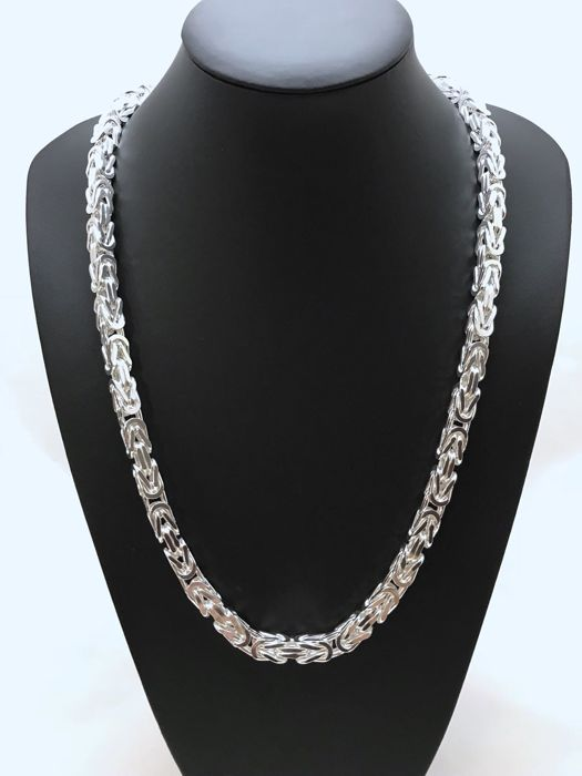 Silver (925) Byzantine link necklace, 70 cm, width 8 mm, weight 260 g