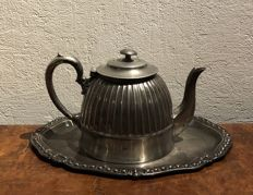 Sheffield , superior silver plated  teapot  with vintage oval silverplated teapot