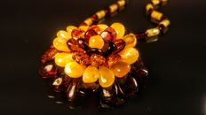 Baltic Amber necklace- brooch, length 52 cm