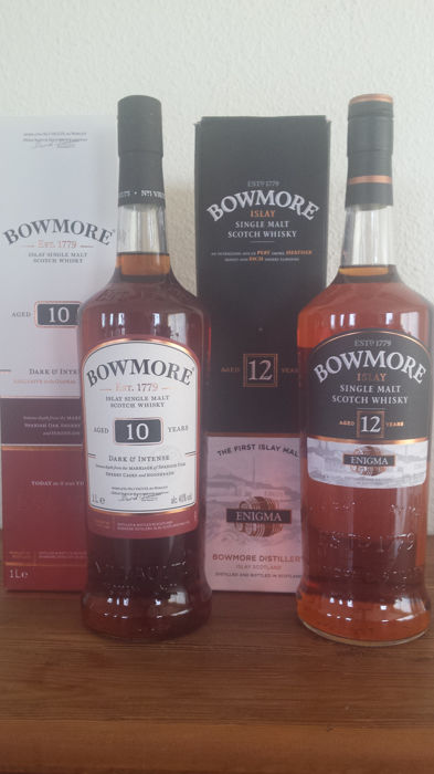 2 bottles - Bowmore 10 Dark & Intense and 12 Enigma (discontinued)