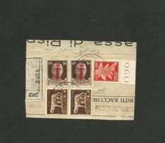Italy, 1944 - RSI, mixed postage with 30 cent.  dark brown bearing overprint in carmine lilac ink, pair; 'Imperial' 5 cent.  dark brown, pair; Airmail 80 cent.  on fragment - Sass.  N°  492/I, 243, PA 13