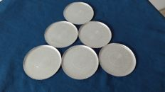 Coasters/saucers - silver plated, silver title 1000