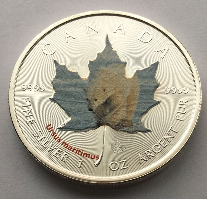 Canada - 5 dollars 2014 'Maple Leaf Wildlife - Polar Bear' colour - 1 oz silver