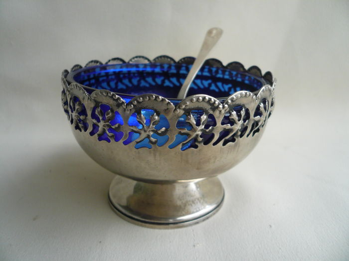 Cobalt blue glass in silver plated sugar dish with sugar spoon