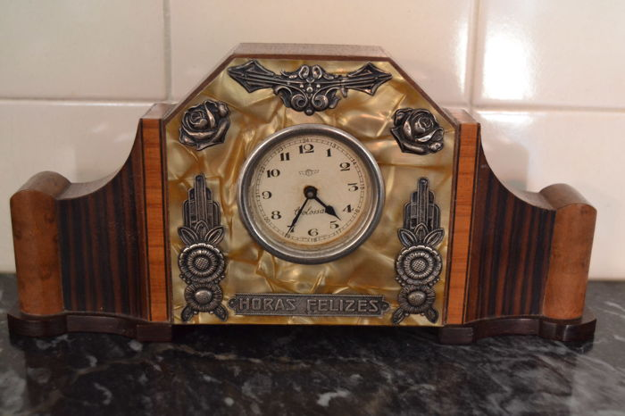 Antique desk clock - wood , mother of pearl and silver , Portugal ca.1920 - Antique Desk Clock - Wood , Mother Of Pearl And Silver , Portugal Ca