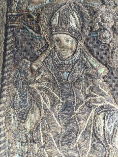 Medieval late gothic embroidery of pope or bishop in silverwire